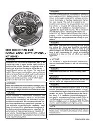 2003 DODGE RAM 2500 INSTALLATION INSTRUCTIONS - KIT ...