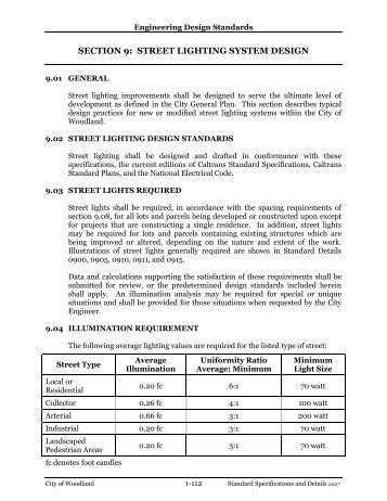 SECTION 9: STREET LIGHTING SYSTEM DESIGN - Woodland