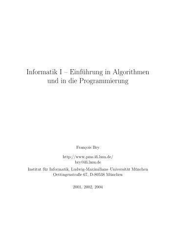 Informatik I – Einführung in Algorithmen und in die Programmierung