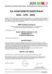 EG–KONFORMITÄTSZERTIFIKAT 0432 – CPD – 0040