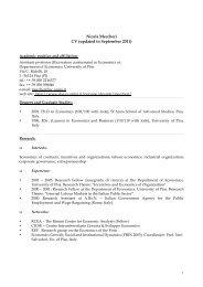 Nicola Meccheri CV (updated to September 2011)