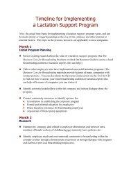 Timeline for implementing a lactation support program
