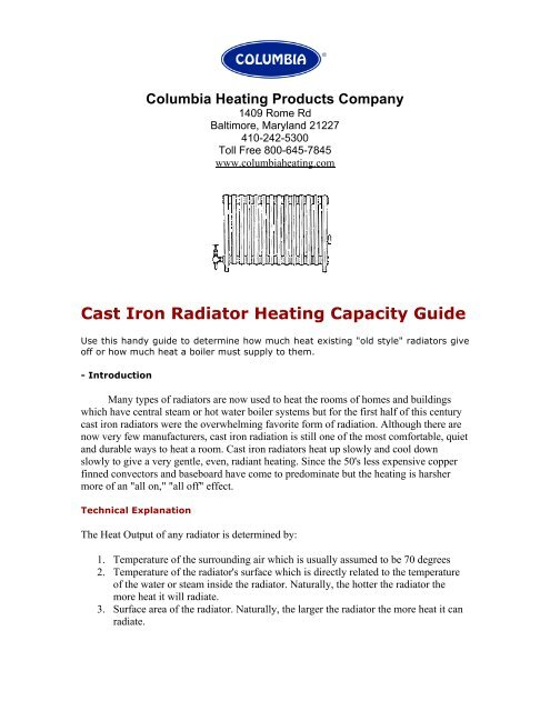 Sizing Cast Iron Radiator Heating Capacity Guide Columbia Heating