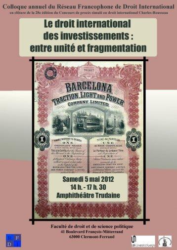 Programme - Réseau francophone de droit international (RFDI)