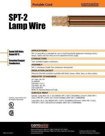 SPT-2 Lamp Wire - Cerro Wire and Cable Company