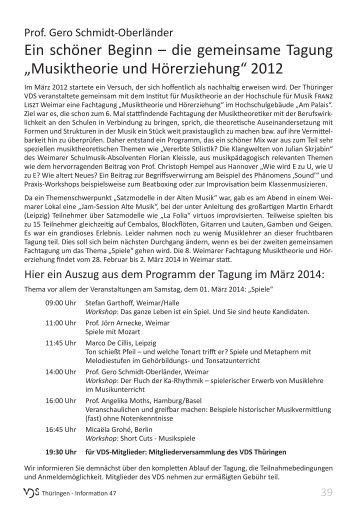 Fortbildungen des VDS - Verband Deutscher Schulmusiker