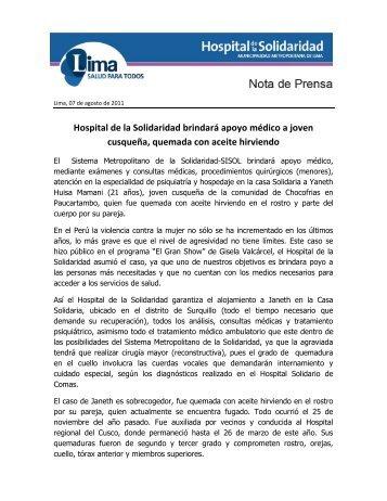 Hospital de la Solidaridad brindará apoyo médico a joven cusqueña ...