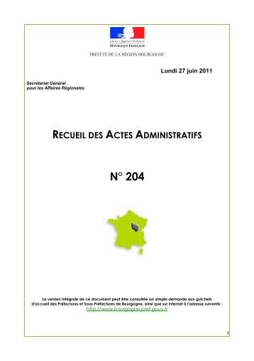 RAA 204 - Préfecture de la Côte-d'Or