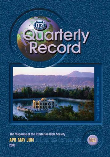 Quarterly Record - Trinitarian Bible Society