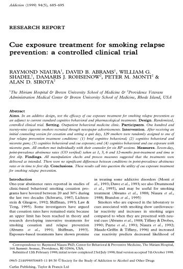 intervention treatment and relapse prevention paper The relapse prevention workbook for youth in treatment by charlene steen, phd, jd this classic workbook is written in straightforward and easy to understand language.