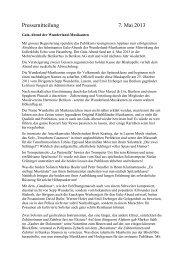 Pressemitteilung 7. Mai 2013 - wunderland musikanten