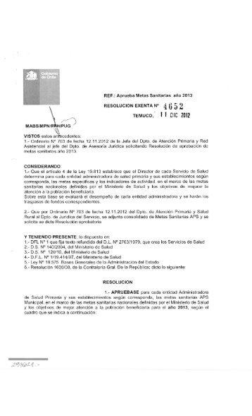 Aprueba Metas Sanitarias año 2013 RESOLUCION EXENTA N° 4 0 ...