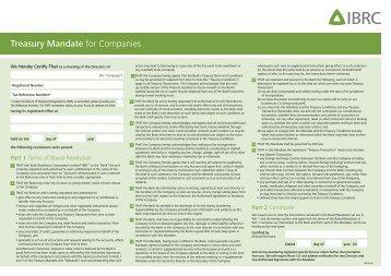 Treasury Mandate for Companies - Irish Bank Resolution ...