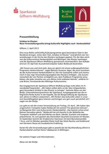 Pressemitteilung Schätze im Kloster - Sparkasse Gifhorn-Wolfsburg