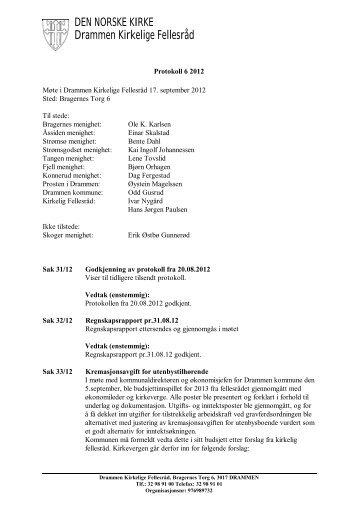 Protokoll 6 2012 - Den norske kirke i Drammen