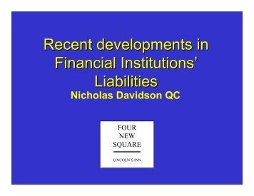 Recent developments in Financial Institutions' Liabilities