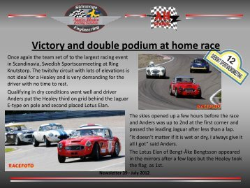 Victory and double podium at home race