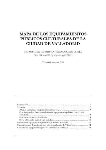 Mapa de los equipamientos públicos culturales de Valladolid