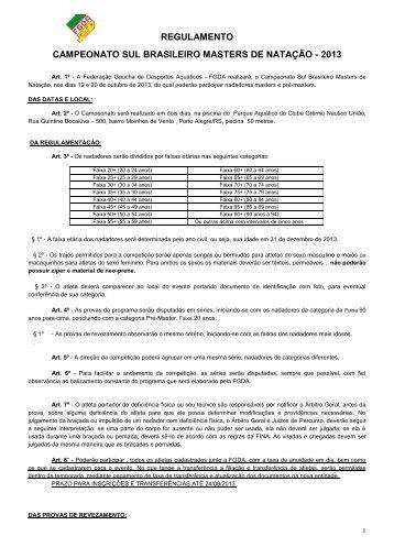 regulamento campeonato sul brasileiro masters de natação - 2013