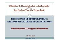 les sic dans le secteur public - Ministère des Technologies de l ...