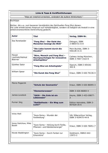 Datenblatt Schon Gmbh Feng Shui Bauer Koniger