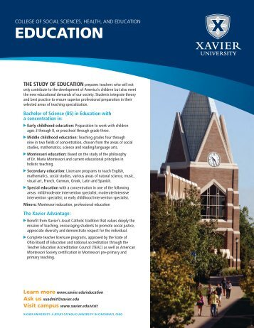 college of social sciences, health, and education ... - Xavier University