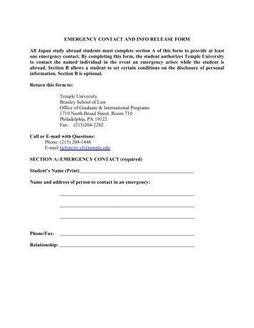 Emergency Release Form. Medical Release Form A Medical Release ...