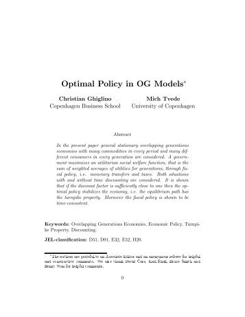 Optimal Policy in OG Models