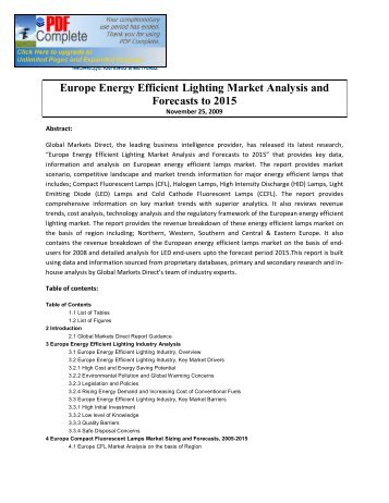 Europe Energy Efficient Lighting Market Analysis and Forecasts to ...