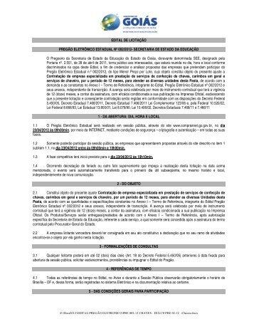 EDITAL DE LICITAÇÃO PREGÃO ELETRÔNICO ESTADUAL Nº 002 ...