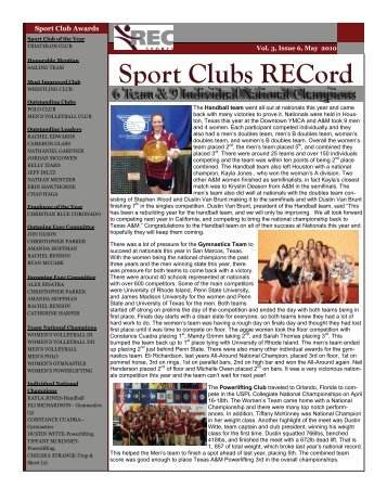 Vol 3 Issue 6 (May '10) - Rec Sports