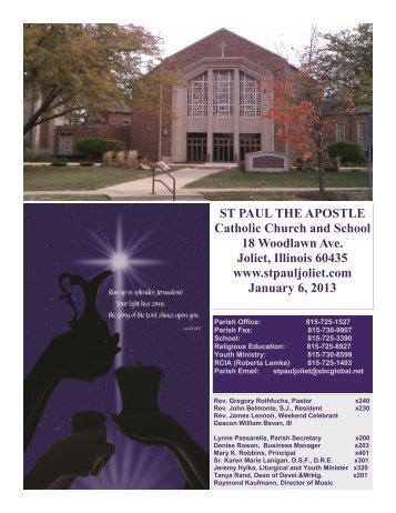 January 6 - St. Paul the Apostle Church - Diocese of Joliet