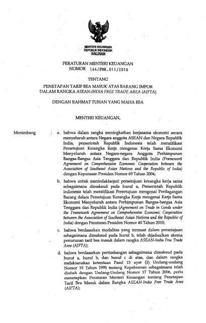 Menimbang Peaaturan Menteri Keuangan Nomor 144