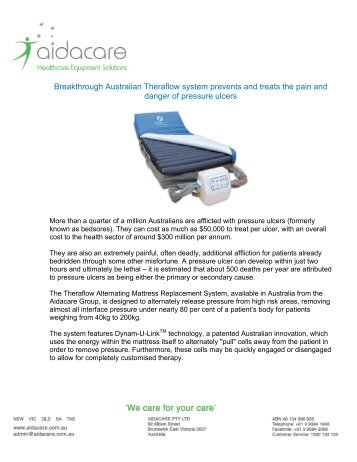 Read our latest news article featuring the Theraflow - Aidacare