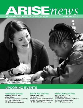 Download the ARISE 2013 Spring Newsletter (PDF – 2174 KB)