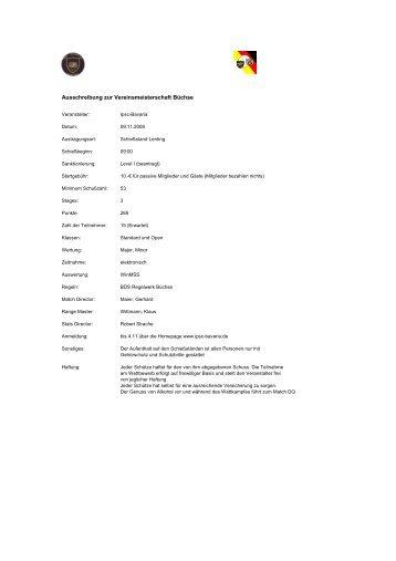 Ausschreibung zur Vereinsmeisterschaft Büchse - IPSC Bavaria eV
