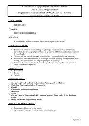 Programma del Corso - Ingegneria per l'Ambiente e il Territorio