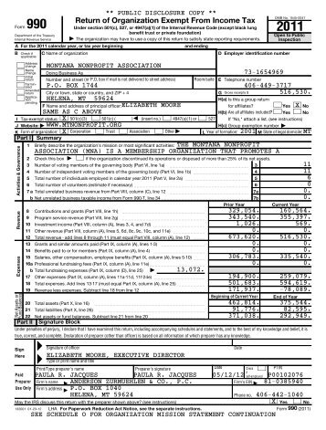 2011 MNA Form 990 - Montana Nonprofit Association