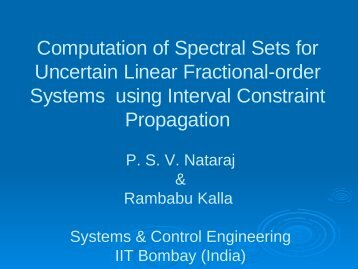 x - Interdisciplinary Programme in Systems and Control Engineering