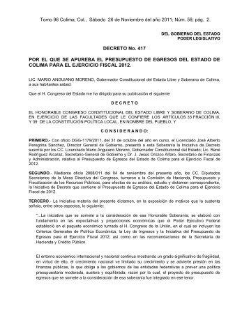 Presupuesto de Egresos 2012 - Gobierno del Estado de Colima