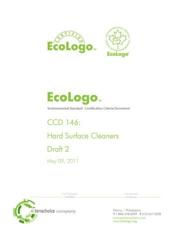 Draft 2- Revised Hard Surface Cleaners Standard, CCD ... - EcoLogo