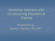 Homeless Veterans with Co-Occurring Disorders & Trauma