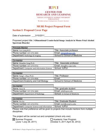 Project Proposal Form Section I The Center For Research