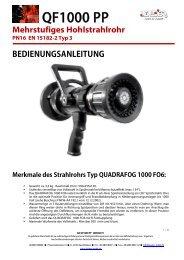 Bedienungsanleitung QF1000 PP Hohlstrahlrohr - Leader GmbH