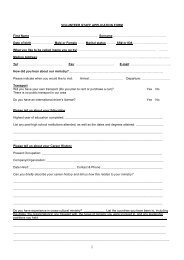 Volunteer application form - Mission Travel