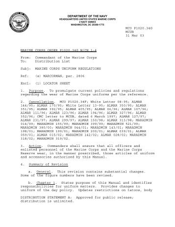 marine corps uniform regulations - US