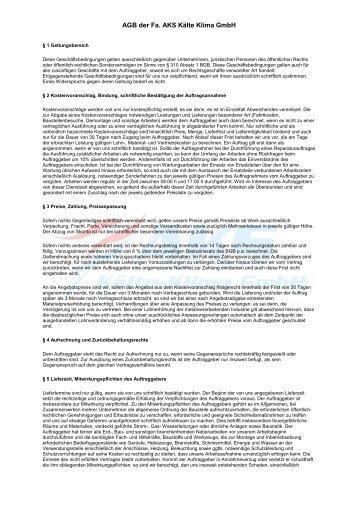AGB der Fa. AKS Kälte Klima GmbH