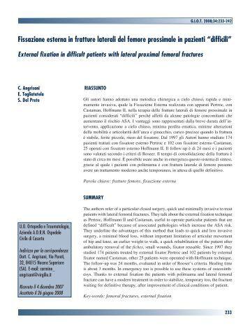 Fissazione esterna in fratture laterali del femore prossimale in ...