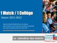Le calendrier des matchs - Conseil Général de la Côte-d'Or