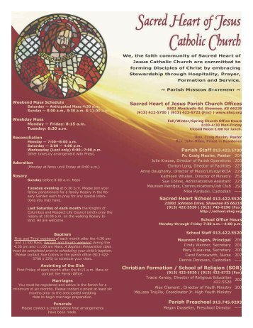 Sacred Heart of Jesus Parish Church Offices Parish Staff ... - Featured